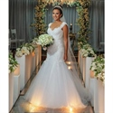 Cap Sleeve Sweetheart Backless Mermaid Lace Embellished Wedding Dress