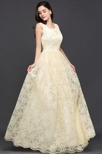 Elegant Sleeveless Beaded Lace Overlay A-Line Floor Length Prom Dress