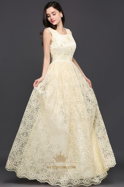 Elegant Sleeveless Beaded Lace Overlay A-Line Floor Length Prom Dress