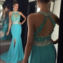 Sky Blue Beaded Neckline Sleeveless Mermaid Prom Dress With Side Slit