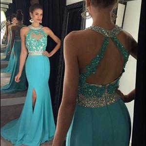 Sky Blue Beaded Neckline Sleeveless Mermaid Prom Dress With Side Slit