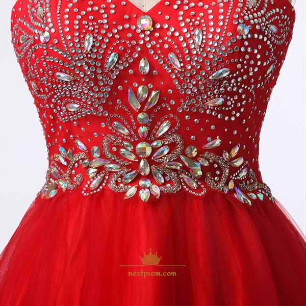 Red Strapless Sweetheart Beaded Bodice A-Line Short Homecoming Dress