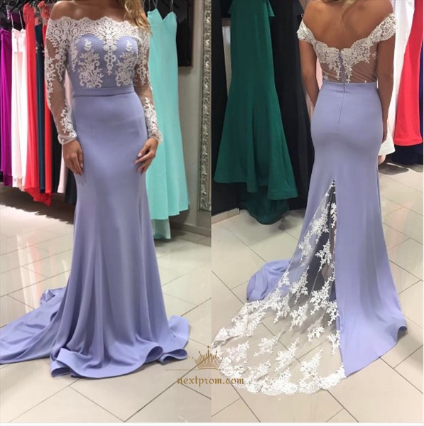 Illusion Long Sleeve Off Shoulder Mermaid Lace Embellished Prom Dress