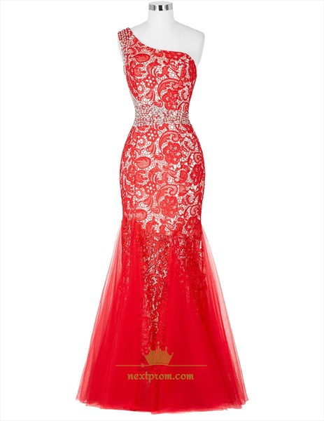 Red One Shoulder Lace Sequin & Beads Embellished Mermaid Prom Dress