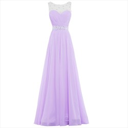 Lilac Illusion Beaded Neckline Sleeveless A-Line Chiffon Prom Dress
