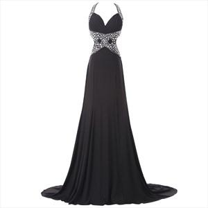 Black Sleeveless Backless Chiffon Prom Dress With Beaded Empire Waist