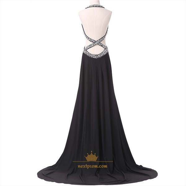 Black Sleeveless Backless Chiffon Prom Dress With Beaded Empire Waist