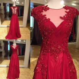 Burgundy Sheer Cap Sleeve A-Line Lace Embellished High Low Prom Dress