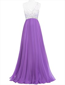 One Shoulder Beaded Bodice Empire Waist A-Line Chiffon Evening Dress