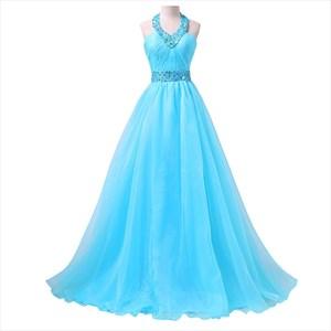 Aqua Blue Open Back Beaded Waist A-Line Prom Dress With Beaded Halter