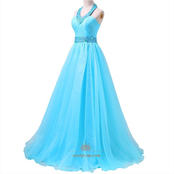Aqua Blue Open Back Beaded Waist A-Line Prom Dress With Beaded Halter