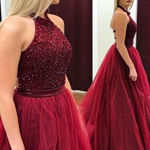 Burgundy Sleeveless Halter Beaded Top A-Line Ball Gown With Open Back