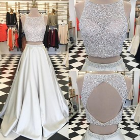 Silver Two-Piece Sleeveless Keyhole Back Prom Dress With Beaded Top