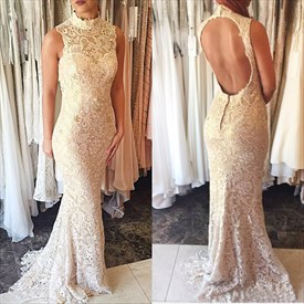 Elegant Sleeveless High-Neck Lace Mermaid Prom Dress With Keyhole Back