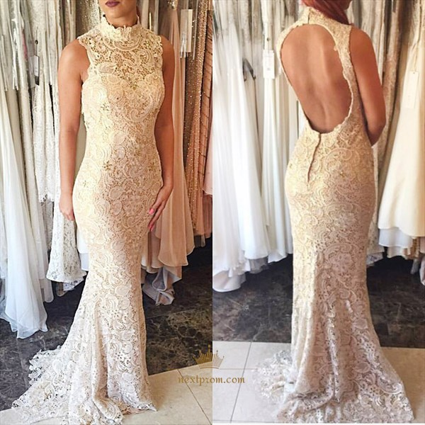 Elegant Sleeveless High-Neck Lace Mermaid Prom Dress With Keyhole Back