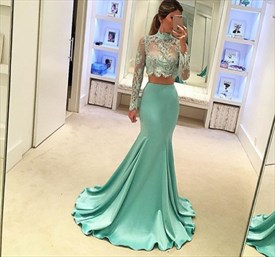 Illusion High-Neck Two-Piece Mermaid Evening Dress With Long Sleeve