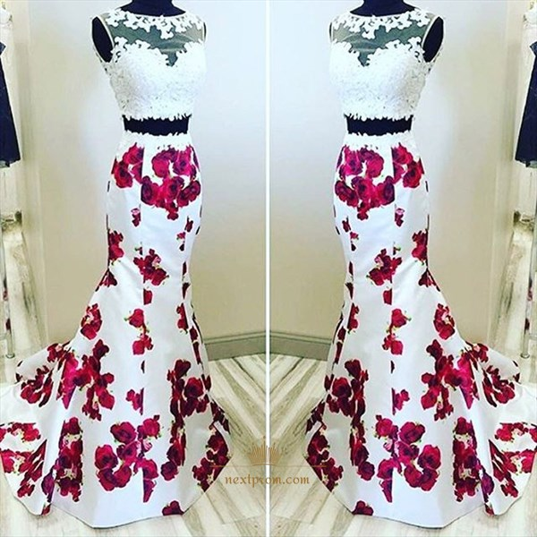 Elegant Two Piece Sleeveless Mermaid Prom Dress With Illusion Lace Top