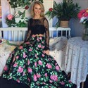 Floral Two Piece Long Sleeve Lace Bodice Mermaid Dress With Open Back