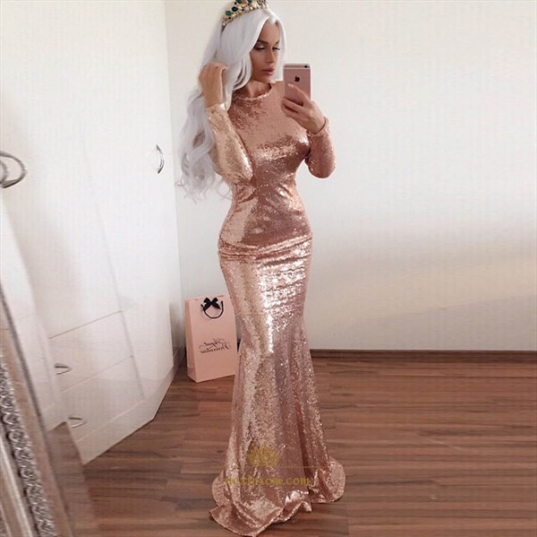 Simple Champagne Long Sleeve Backless Full Sequin Mermaid Prom Gown