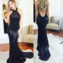 Black Simple Sleeveless Sequin Mermaid Evening Dress With Open Back