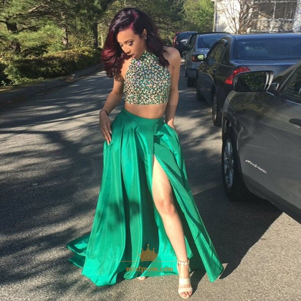 Green Sleeveless Two Piece Beaded Bodice Evening Dress With Side Slit