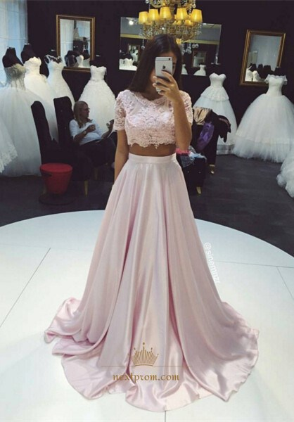 Elegant Light Pink Two-Piece Short Sleeve Lace Top A-Line Ball Gown
