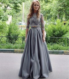 Grey Half Sleeve Lace Top Two Piece A-Line Floor Length Evening Dress