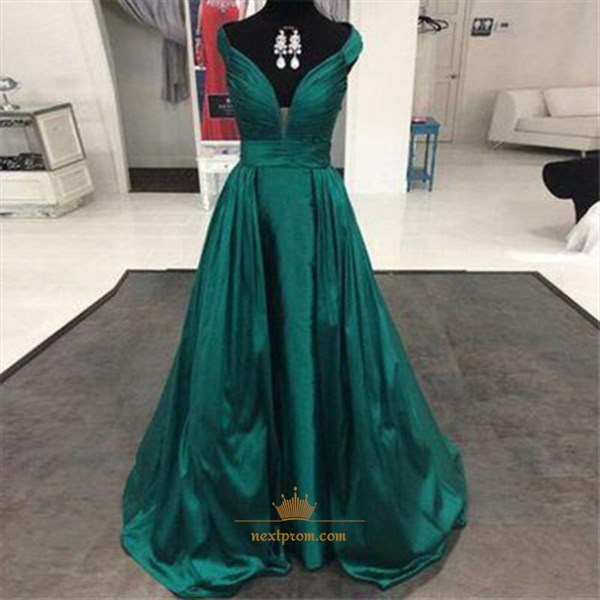 Green Plunge V-Neck A-Line Floor Length Ball Gown With Ruched Bodice