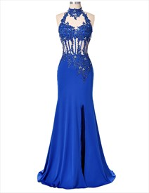 Royal Blue Sleeveless Lace & Beads Embellished Top Mermaid Prom Dress