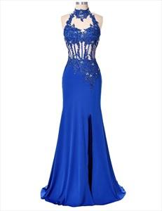 Royal Blue Sleeveless Lace & Beads Embellished Top Mermaid Prom Dress