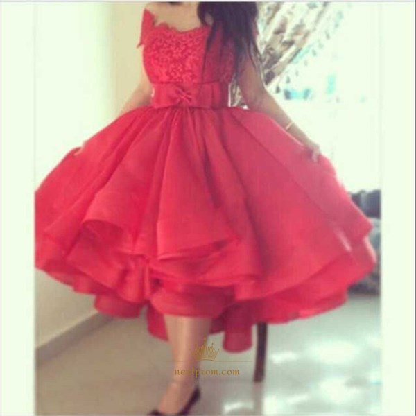 Red Off The Shoulder Lace Bodice Tea Length A-Line Homecoming Dress