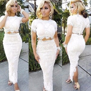 Two-Piece Short Sleeve Ankle Length Lace Sheath Prom Dress With Slit