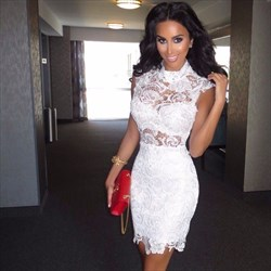 Elegant White High-Neck Cap Sleeve Lace Short Sheath Cocktail Dress