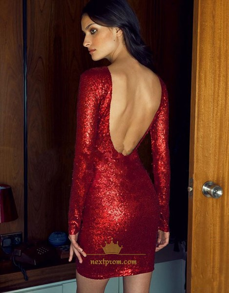 Simple Burgundy Long Sleeve Backless Sequin Sheath Cocktail Mini Dress