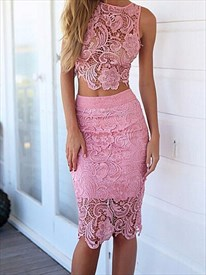Pink Illusion Two-Piece Sleeveless Lace Short Sheath Cocktail Dress