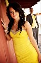 Yellow Strapless Beaded Sweetheart Ruched Chiffon Short Sheath Dress