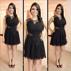 Illusion Black Sleeveless A-Line Knee Length Tulle Homecoming Dress