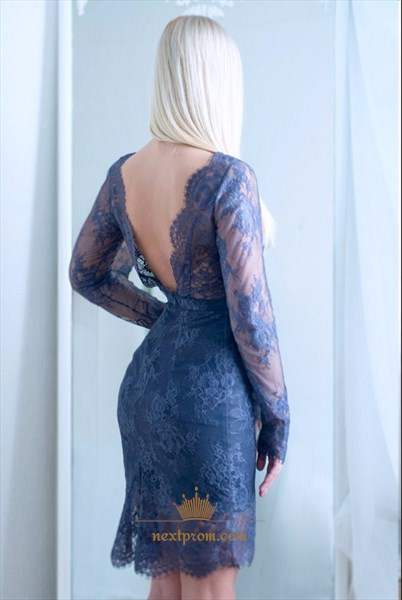 Illusion Long Sleeve Short Sheath Lace Cocktail Dress With Open Back