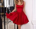 Red Cute Knee Length Sleeveless A-Line Homecoming Dress With Bowknot