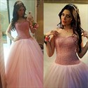Baby Pink Strapless Sweetheart Beaded Bodice A-Line Tulle Ball Gown