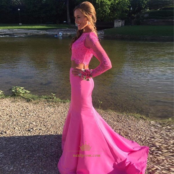 Elegant Hot Pink Two-Piece Long Sleeve Lace Top Mermaid Formal Dress