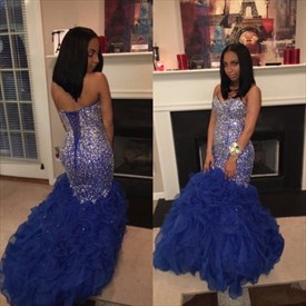 Royal Blue Strapless Beaded Bodice Drop Waist Ruffle Mermaid Prom Gown