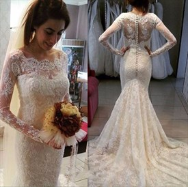 Illusion Long Sleeve Lace Overlay Mermaid Wedding Dress With Train