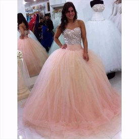 Strapless Sweetheart Beaded Bodice Ruched Waist A-Line Ball Gown Dress