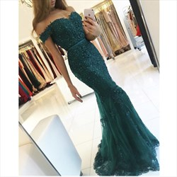 Hunter Green Off The Shoulder Beaded Lace Tulle Mermaid Evening Dress