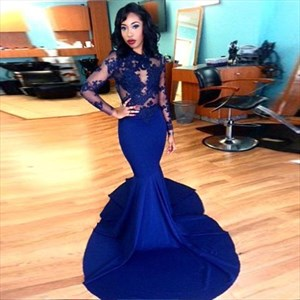 Elegant Royal Blue Long Sleeve Illusion Bodice Mermaid Evening Dress