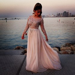 Light Pink Long Sleeve A-Line Chiffon Prom Dress With Illusion Bodice