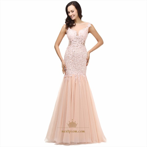 Illusion Cap Sleeve Lace Bodice Drop Waist Tulle Mermaid Prom Dress