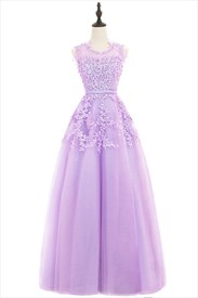 Illusion Lavender Sleeveless Lace Floral Applique A-Line Formal Dress