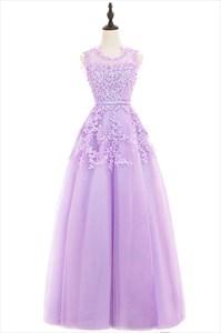 Illusion Lavender Sleeveless Lace Floral Applique A-Line Formal Dress